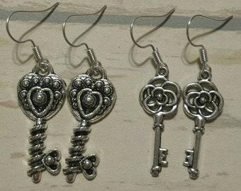 Key Earrings Skeleton Keys Tibetan Silver Dangle Earrings  2 Different Sets!