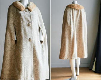 Wool and Mink Cape | Tan Wool Cape | Long Wool Cape | Mink Collar Cape | 1950s Cape | Textured Wool Cape | Mad Men Cape | Vintage Cape
