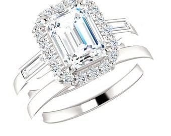 1.50 ct Emerald Forever Brilliant Moissanite & Diamond Engagement Wedding Set 14k, 18k or Platinum, Moissanite Sets for Women, Bridal Sets