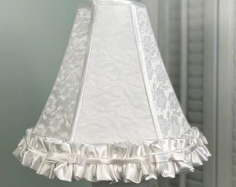 White Satin Lamp Shade, Lace Lamp Shade, White Lamp Shade, Satin and Lace Lamp Shade, Shabby Chic Lamp Shade
