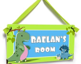 dinosaur kids bedroom door sign - dino theme lime green room decor - wall art boys gift - P131