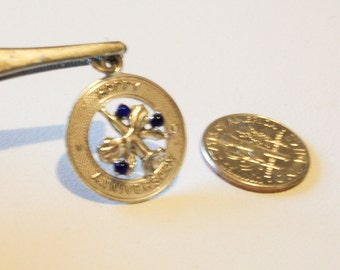 Anniversary Charm Round  3D Orchid with 3 Purple Stones  Charm  for Happy Anniversary  in TC SS Vintage 1960 1970