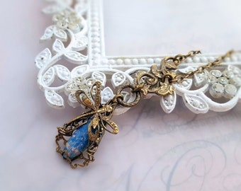 Blue Opal dragonfly necklace, Art Nouveau necklace, dragonfly jewelry, filigree jewelry statement necklace bug pendant necklace, womens gift