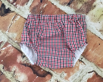 Diaper cover - Red and Black Tri check boy diaper cover -  pants - boy cover - Monogram - Initials - handmade - photo shoot