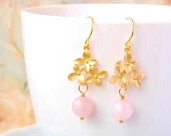 Rose Quartz Earrings Gold Flower Dangle Earrings Blossom Flower Earrings  Light Pink Stone Earrings Rose Quartz Jewelry Mothers Day Gift