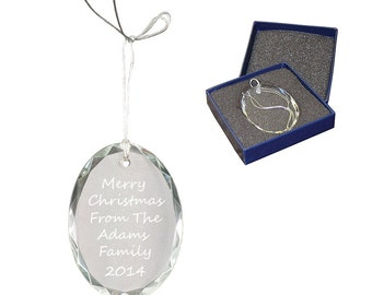 Crystal Christmas Ornament With Custom Engraving - Engraved Ornament -Christmas Gift - Personalized Ornament - Picture Ornament - Keepsake