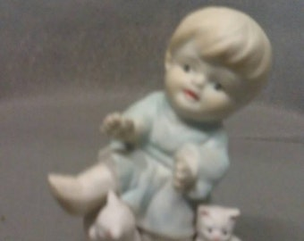 Child with Cats Figurine in Blue Dress