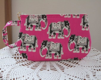 Cell Phone Bag, Elephants Purse,  Pink Case, Zipper Gadget Pouch, Elephant Clutch, Elephant Wristlet