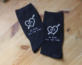Be Mine All The Time Custom Printed Socks for Men, Valentine, Wedding, Engagement Gift Idea, Personalized Socks Sold by the Pair