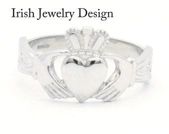 Claddagh ring, Mens silver Claddagh ring, heavy weight.