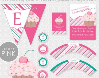 Party Printable Cupcake Party Theme Basic Package - Personalized Printable - cake, sweet shop, cherry, girl, birthday