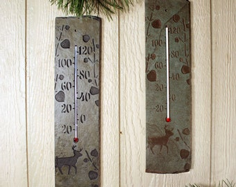 Natural Stone Thermometer - Deer in Aspens on slate