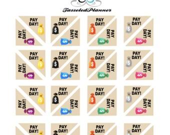 Pay Day Corner Box Mini Planner Sticker/ Pay day Sticker/ Planner Sticker/ Erin Condren Sticker