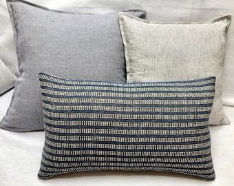 Kennebunkport Blue/ Cream Stripe Rectangular Throw Pillow