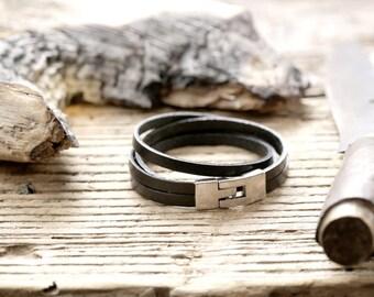 "Leather Bracelet for him ""Simply Black"""