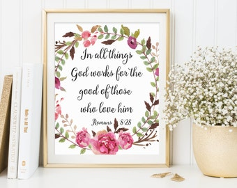 Romans 8:28, In All Things God Works, Bible Verse Print, Christian Print, Calligraphy Verse, Scripture Art, Christian Art, Scripture Print