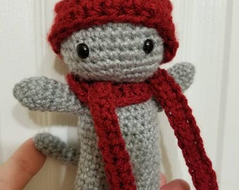 Crochet Plush Cat with Hat and Scarf
