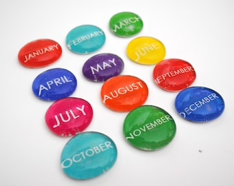 12 months of the year magnets or push pins -YOU choose your own COLOR, 2018 perpetual calendar, back to school