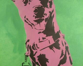Corgi Mix Pop Art / Two Tone Stencil / Dog Art / Bright & Modern Decor