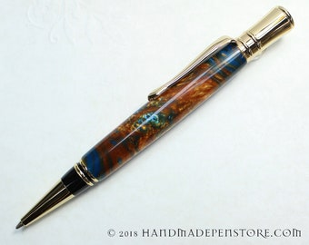 HANDMADE Parker Duofold Style Ball-Point Pen in WORLDS COLLIDING acrylic / 24 kt Gold