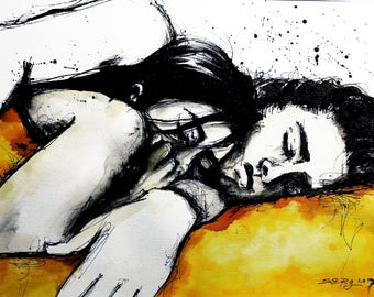 12x16in A3 ink painting - cuddling couple - yolk yellow