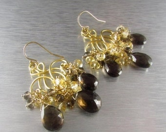 20% Off Smoky Quartz and Citrine Chandelier Earrings