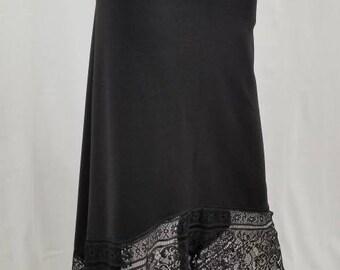 Black assymetrical lace skirt