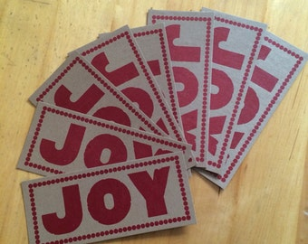JOY CHRISTMAS CARDS Hand Printed Red Letterpress Cards, made from antique wood type