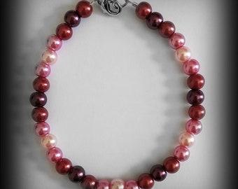 Sunset Gleam - Glass Pearl Bracelet