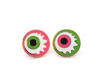 Eyeball Halloween Pin Badge, Zombie Eyeball Enamel Pin, Cartoon Eyes Lapel Pins, Hard Enamel Halloween Pin, RockCakes, uk
