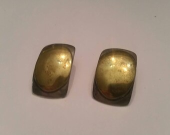 Vintage Sterling Silver Earrings Brass Accent Modernist Jewelry