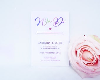 Wedding Invitation Set. Custom Foil Lettering with matching Envelope. Iridescent, Rose Gold, Silver.