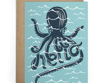 Hello Greeting Card, Best Friend Card, Cards for Him or for Her, Thinking of You Cards, I Like You Card