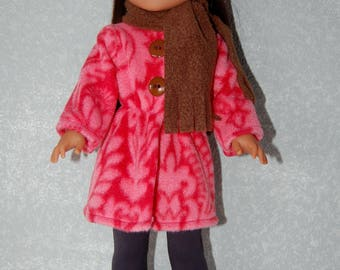 "Jacket Hat Scarf for 14"" Wellie Wishers or Melissa & Doug Doll Clothes Coral-Brown tkct1168 long fleece coat handmade READY TO SHIP"