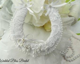 Wedding Bridal Horseshoe charm - White Pearl Trim  Beaded Motif Horseshoe -Organza Edge - Brides Good Luck Horseshoe