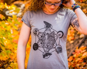 Sacred Geometry Cosmic Wolf Printed Organic Cotton Dress