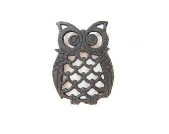 Owl Trivet, Black Cast Iron, Owl Decor Home Accessories