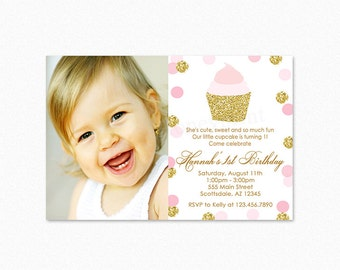 Pink and Gold Cupcake Birthday Party Invitation, Cupcake Birthday Party Invitation, Gold Glitter, Photo, Printable or Printed