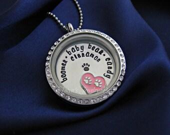 Memorial Pet Locket - Floating Pet Charm Locket - Custom Pet Locket