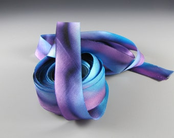 "1"" BLUE PURPLE Hanah Silk  RIBBON Satin Mother Spirit  Wedding Decor"