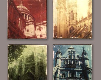 Glicee Photo Monotypes, on stretched canvases, of Historic Buildings in the UK