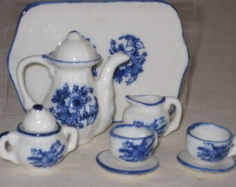 vintage Miniature Blue and White Porcelain Tea Set - service for 2
