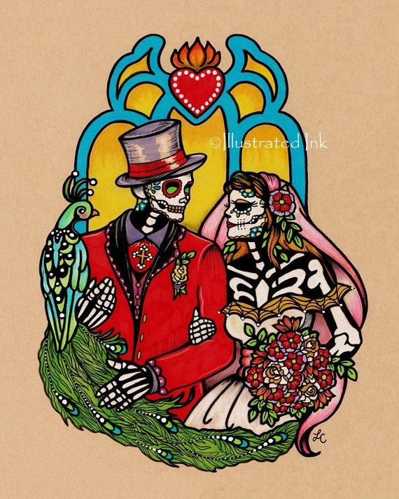 Dia De Los Muertos WEDDING COUPLE Day Of The Dead Art Print 5