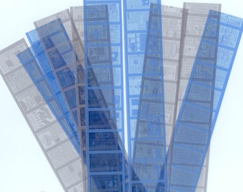Microfilm - Blue and/or Grey - Tiny Newspapers - Altered Art, Collage, Mixed Media, ATCs