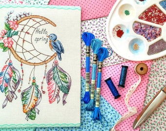 Dreamcatcher cross stitch - Hello spring cross stitch -PDF Instant Download-cute cross stitch-modern cross stitch pattern-spring embroidery