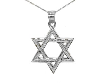 Sterling Silver Star of David Necklace, Silver Star of David Pendant
