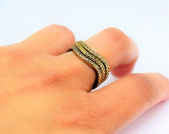 Vintage Gold Toned Twisted Snake Stacking Rings