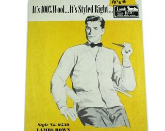 1940's Lamb Wool Knits Cardboard Sign Advertising Store Display.  RARE.  Menswear, Madmen midcentury.