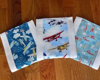 Set of 3 Airplane Burp Cloths - Baby Boy - Baby Shower Gift