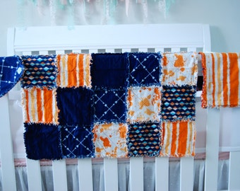 Baby Rag Blanket, Burp Cloth and Bib Set,Baby shower Gift, layette gift, blue and orange,new baby present,gender neutral gift, READY TO SHIP